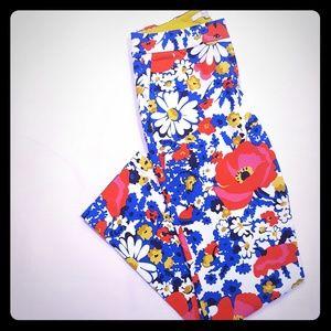 Boden Richmond 7/8 pants floral size 4 L